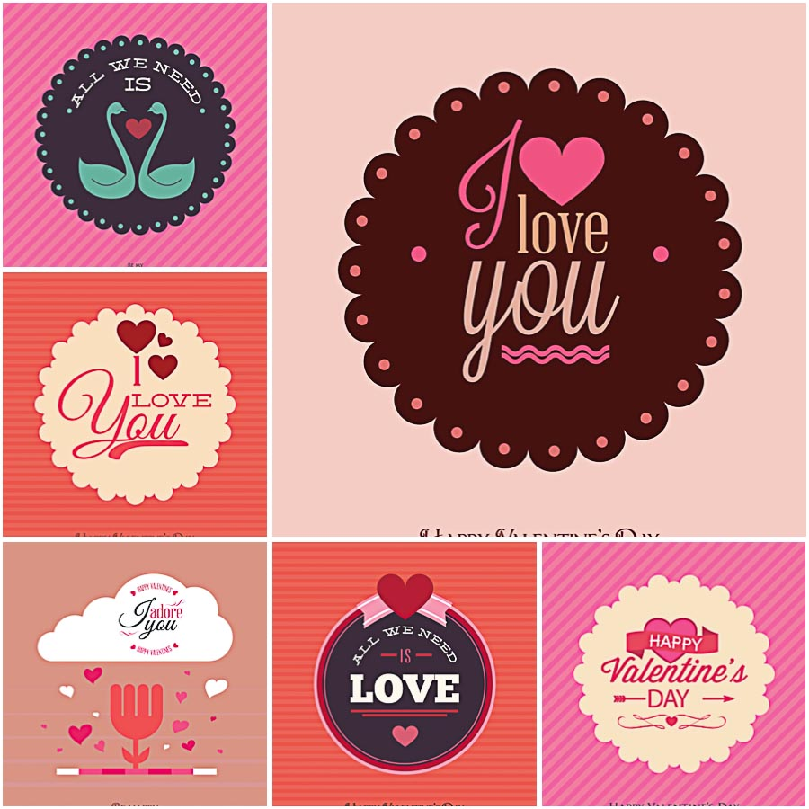 Laconic Modern Valentines Day Set Vector Free Download
