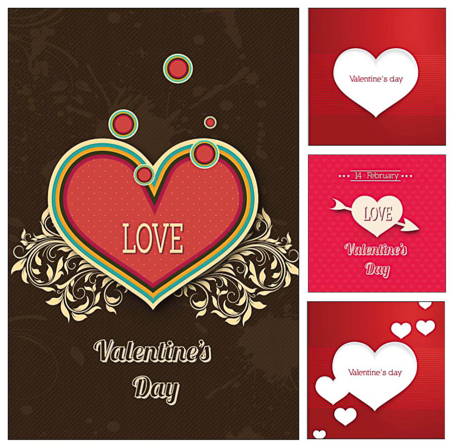 Romantic Valentines day cards with hearts set vector