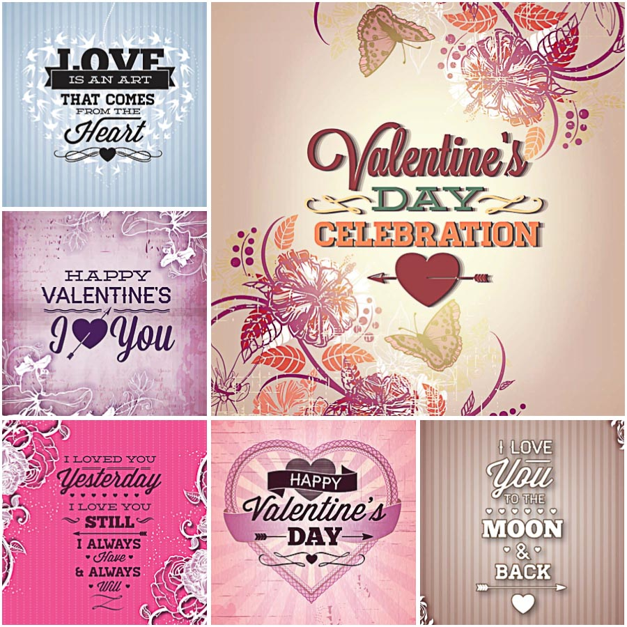 Floral Valentines Day cards set vector