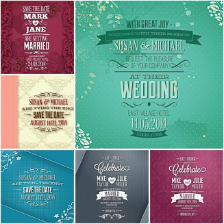Invitations for wedding romantic set vector