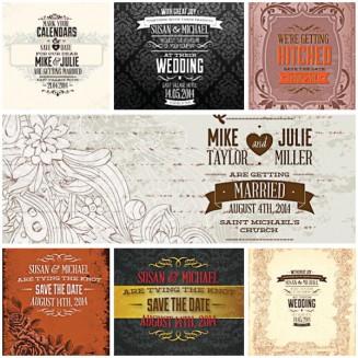 Cute invitations for wedding set vector