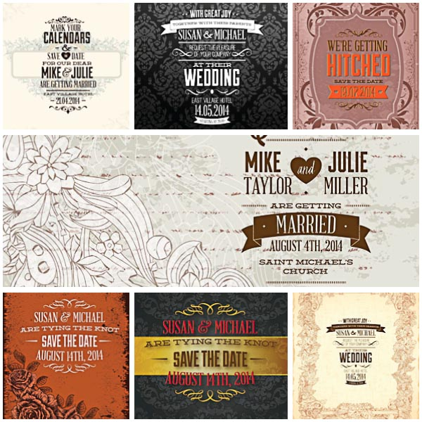 Cute invitations for wedding set vector