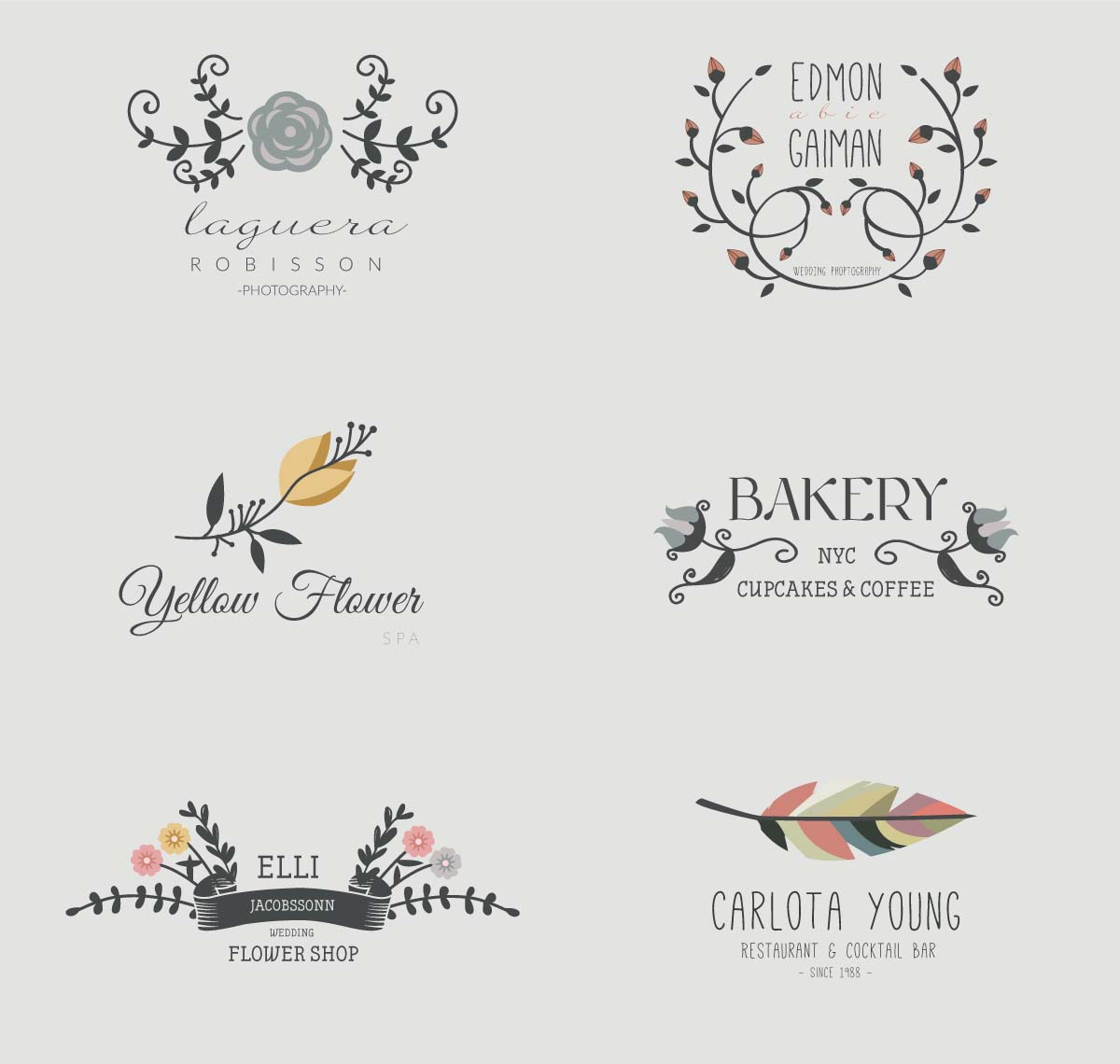 Lovely wreaths cafe shop logo set vector free download
