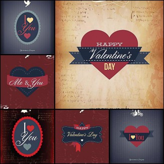 St.Valentine's Day templates postcard set vector