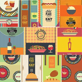 Restaurant and cafe menu templates set vector