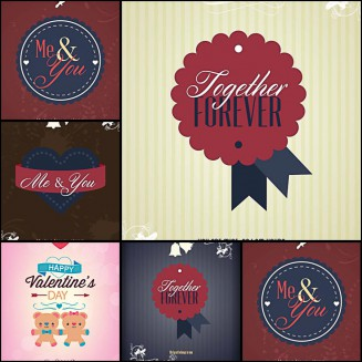 Romantic postcards Valentine's Day hearts set vector