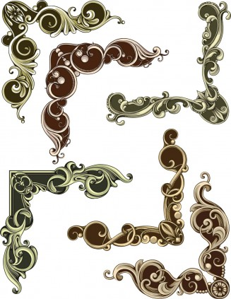 Decorative frames elements set vector