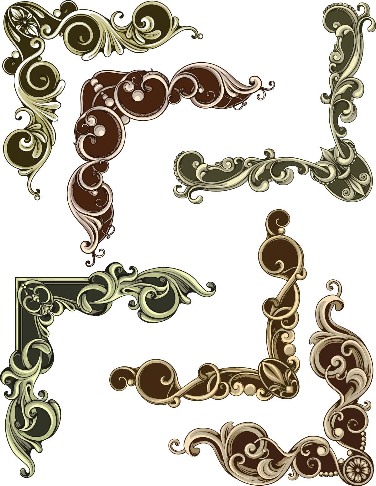 Decorative frames elements set vector