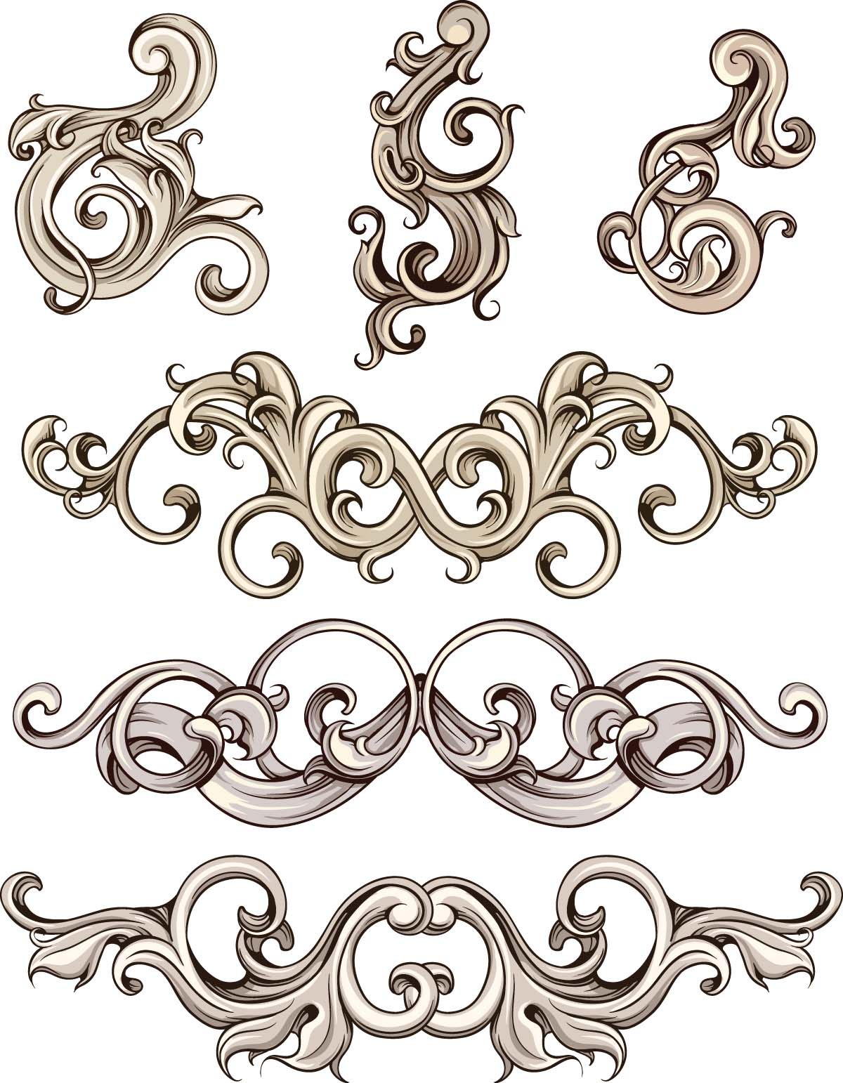 Decorative ornate elements set vector