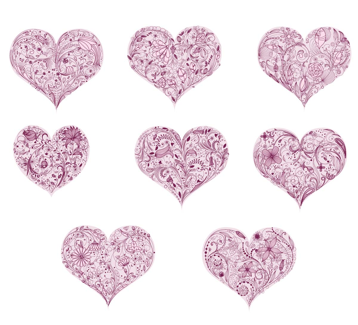 Floral ornate hearts St.Valentines Day card set vector