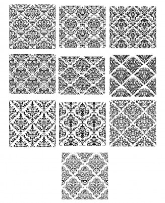 Ornate black patterns set vector