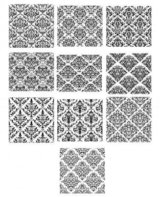Ornate black patterns set vector