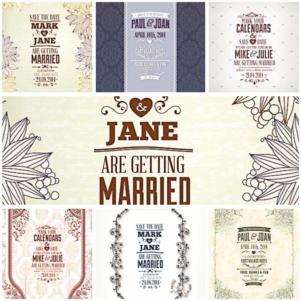 Vintage invitations for wedding set vectors