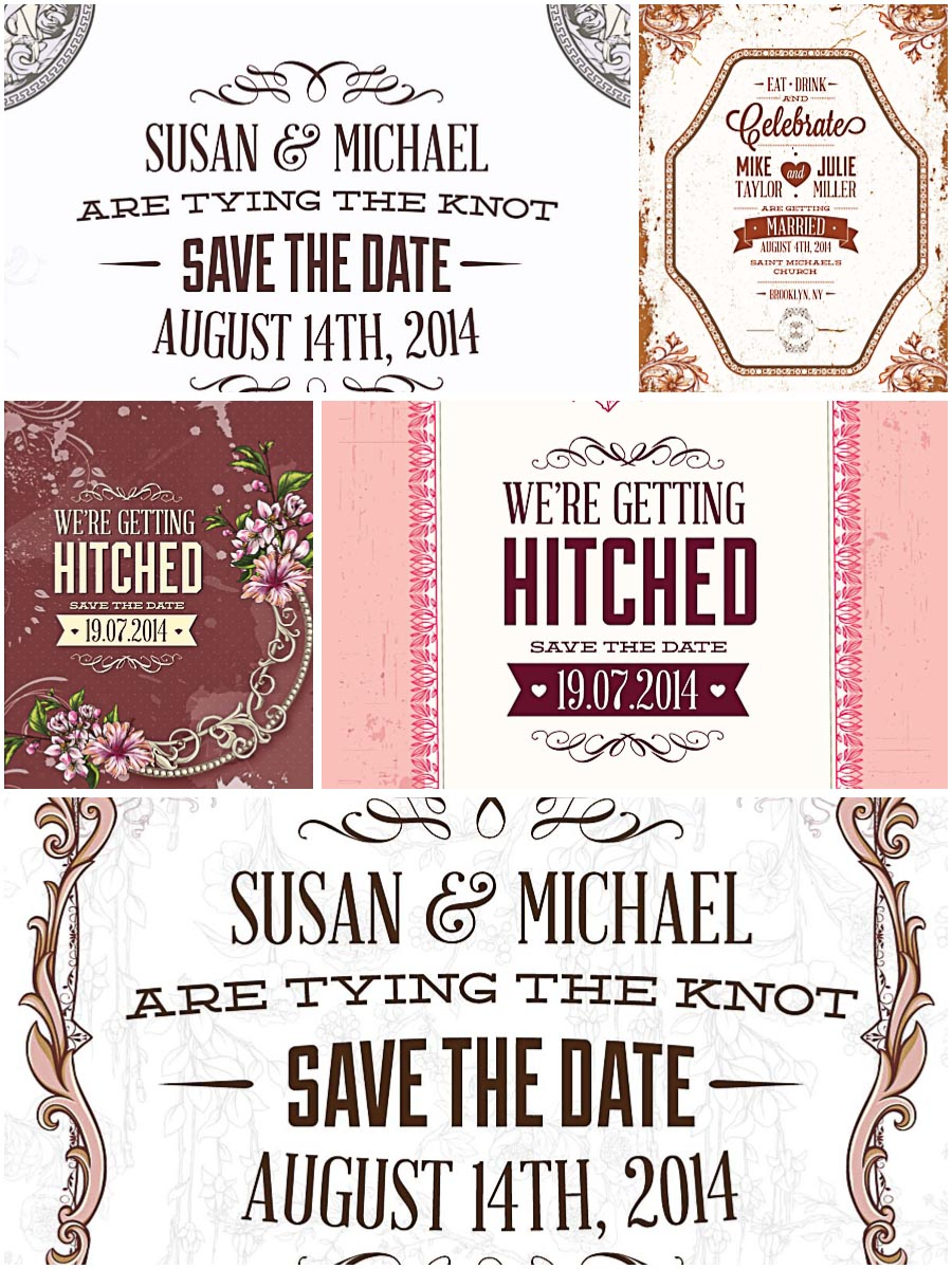 Cute wedding invitations set vector