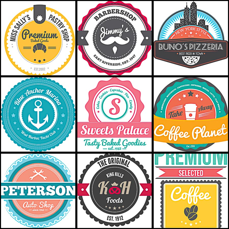 Retro badges and labels for cafe set vector