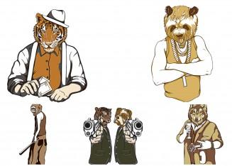 Dangerous t-shirt print pulp fiction animals set vector