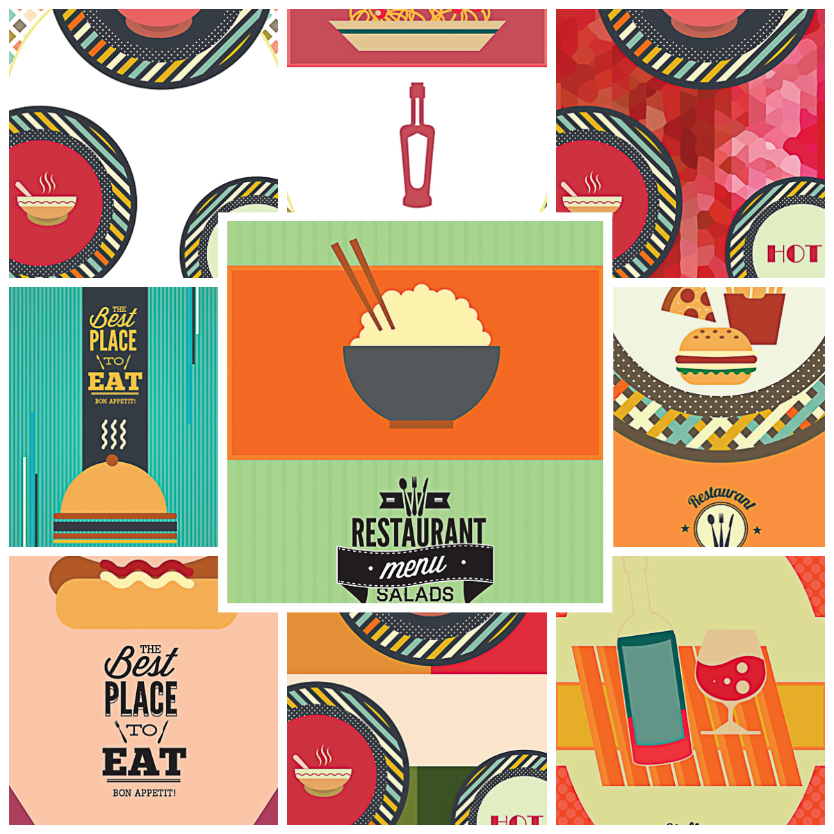 Menu templates for restaurant modern set vector