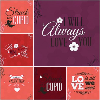 Romantic Valentines Day postcards with cupids set vector