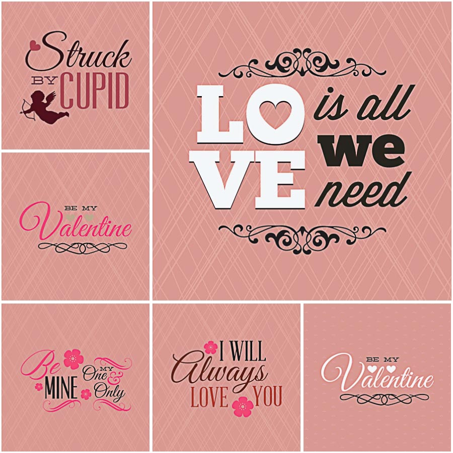 Romantic illustrations for St.Valentine's Day set vector