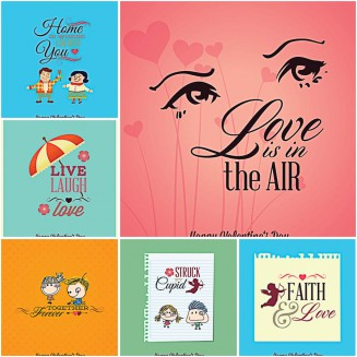 Romantic Valentine's Day postcard set vector
