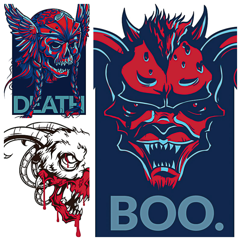 Templates for T-shirts skulls set vector