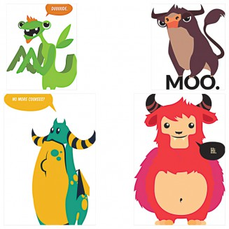 Adorable animals t-shirt patterns set vector