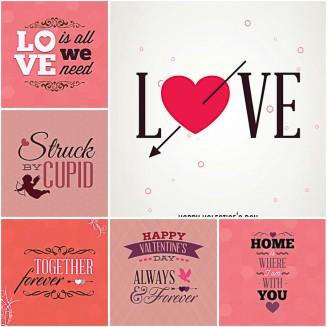 Lovely gift cards for St.Valentine's Day set vector