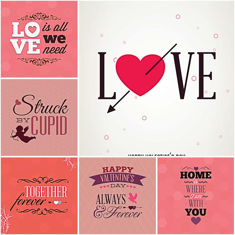 Lovely gift cards for St.Valentine's Day set vector