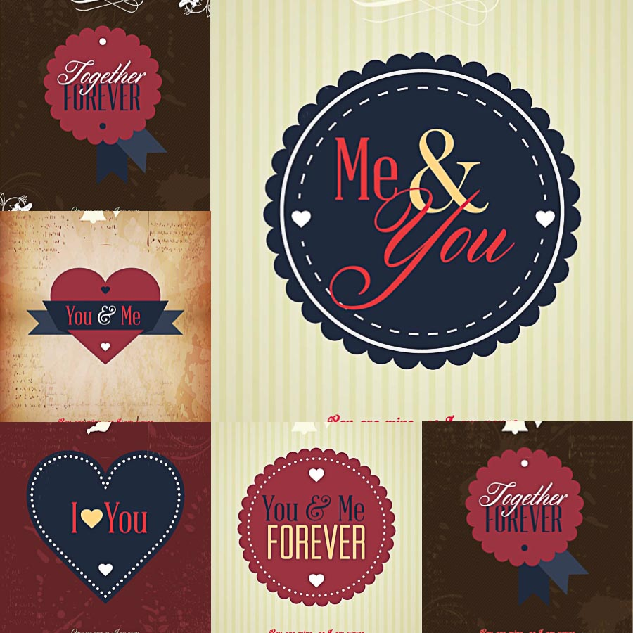 Me and You Valentine's Day postcards set vector