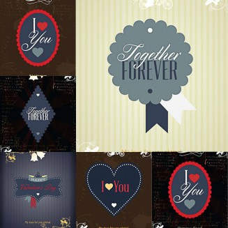 Love Valentines Day postcards set vector
