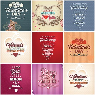 Romantic st.Valentine's day cards modern set vector