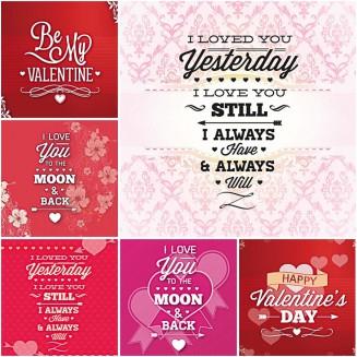 Modern Valentine's Day postcard set vector