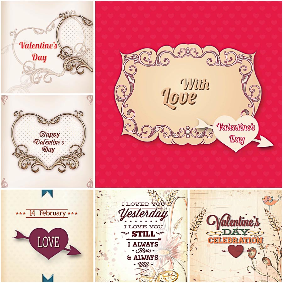 Ornate st.Valentine's day cards set vector
