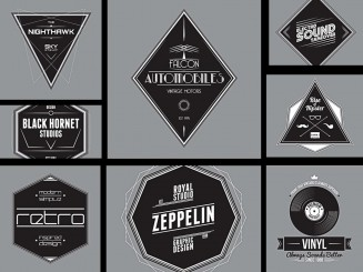 Retro grey badges and labels for auto design set vector