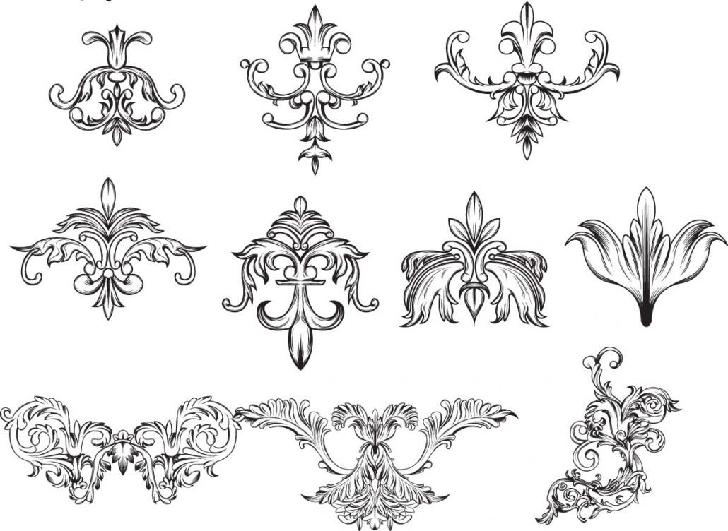vintage decorative elements for invitations set vector