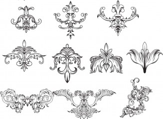 Antique decorative elements set vector