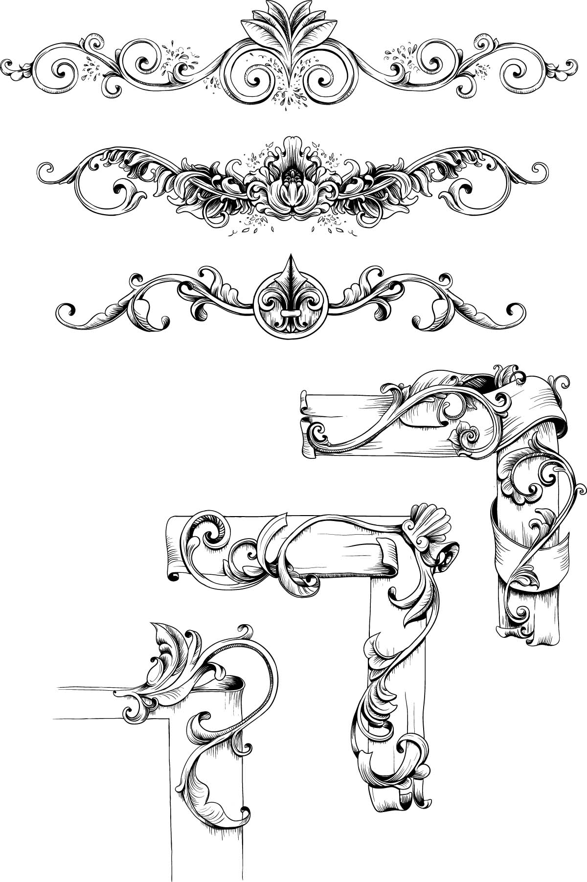 Decorative borders vintage set vector