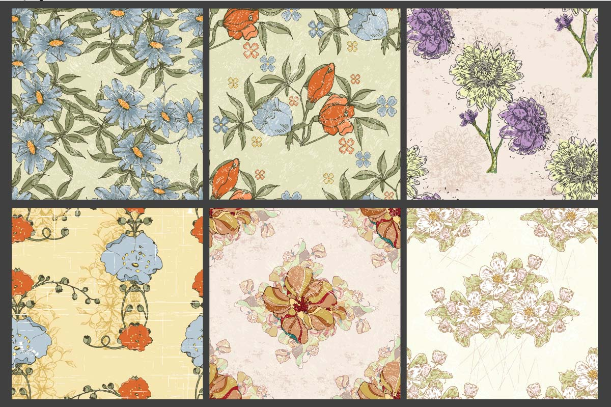 Floral backgrounds patterns set vector