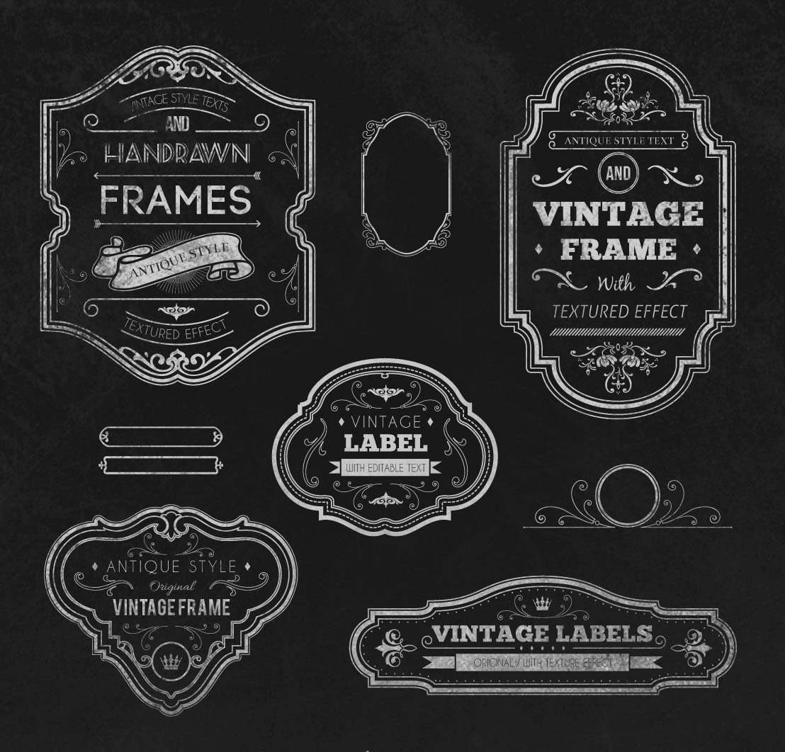 Retro chalkboard frames set vector
