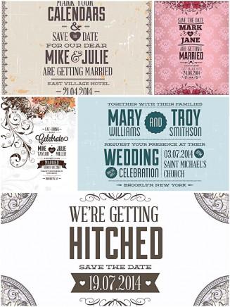 Floral vintage wedding invitations set vector