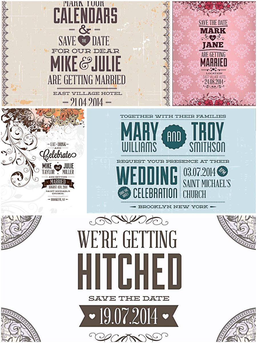 Floral vintage wedding invitations set vector
