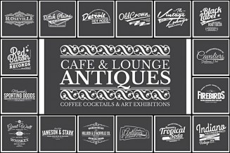Retro badges and labels for bars and cafes design set vector