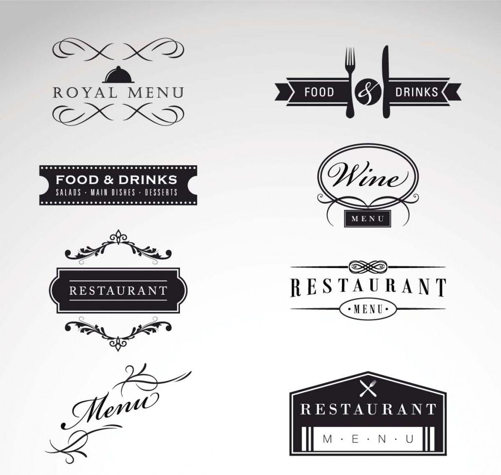 Vintage logo restaurant menu vector set free download