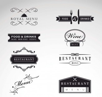 Retro cafe and restaurant menu logo set vector