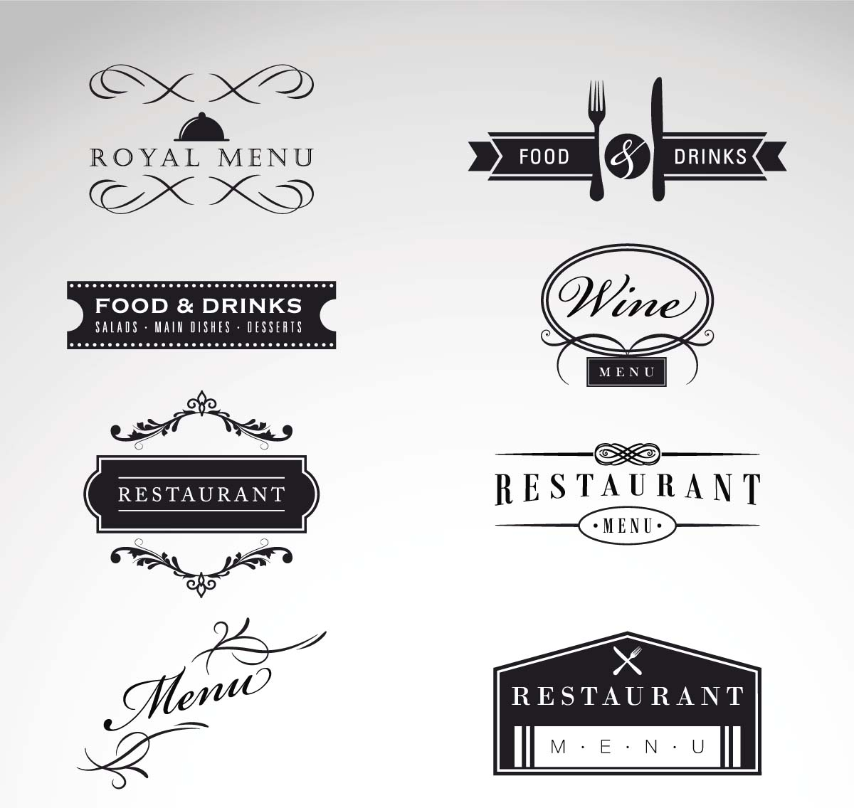 Vintage logo restaurant menu vector set free download