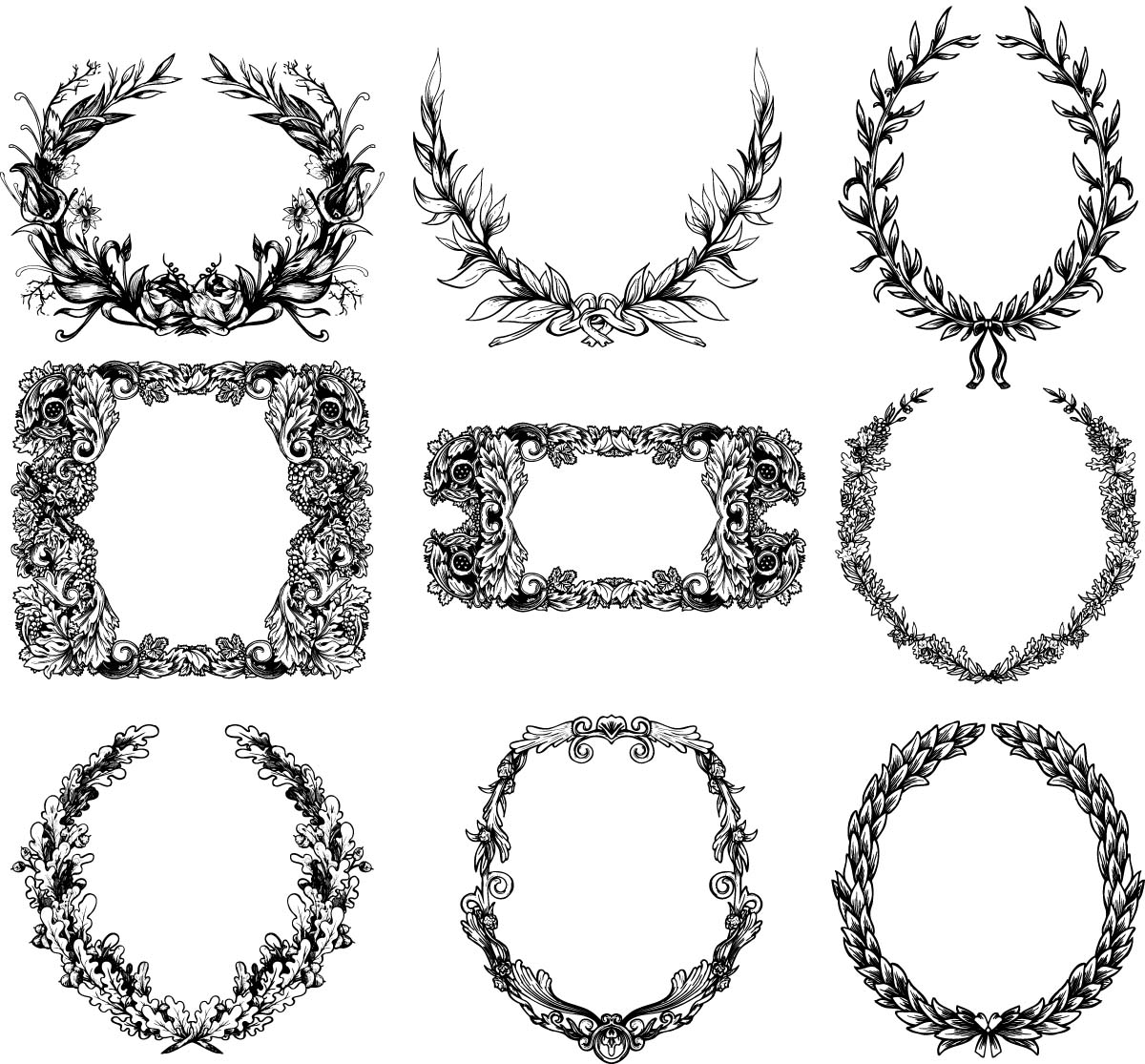 Antique monochrome wreaths set vector