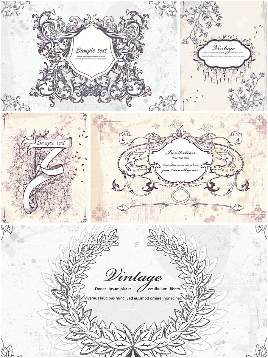 Retro frames and ribbons set vector