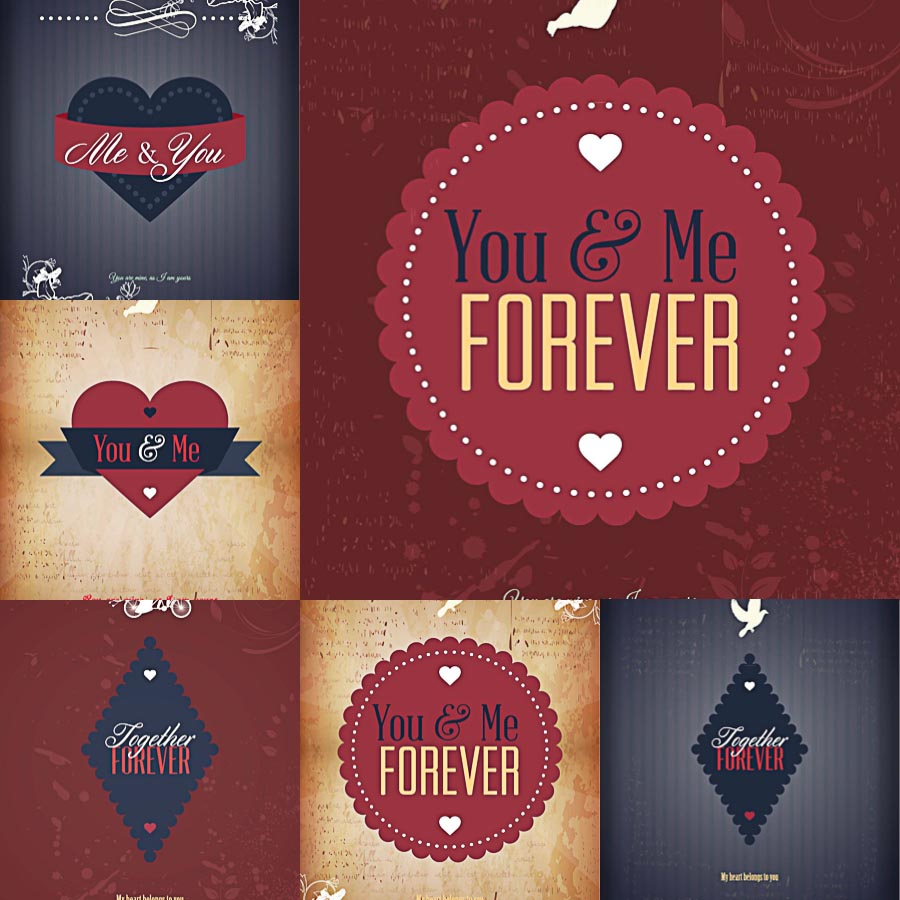 Retro ribbons and badges Valentine's Day set vector