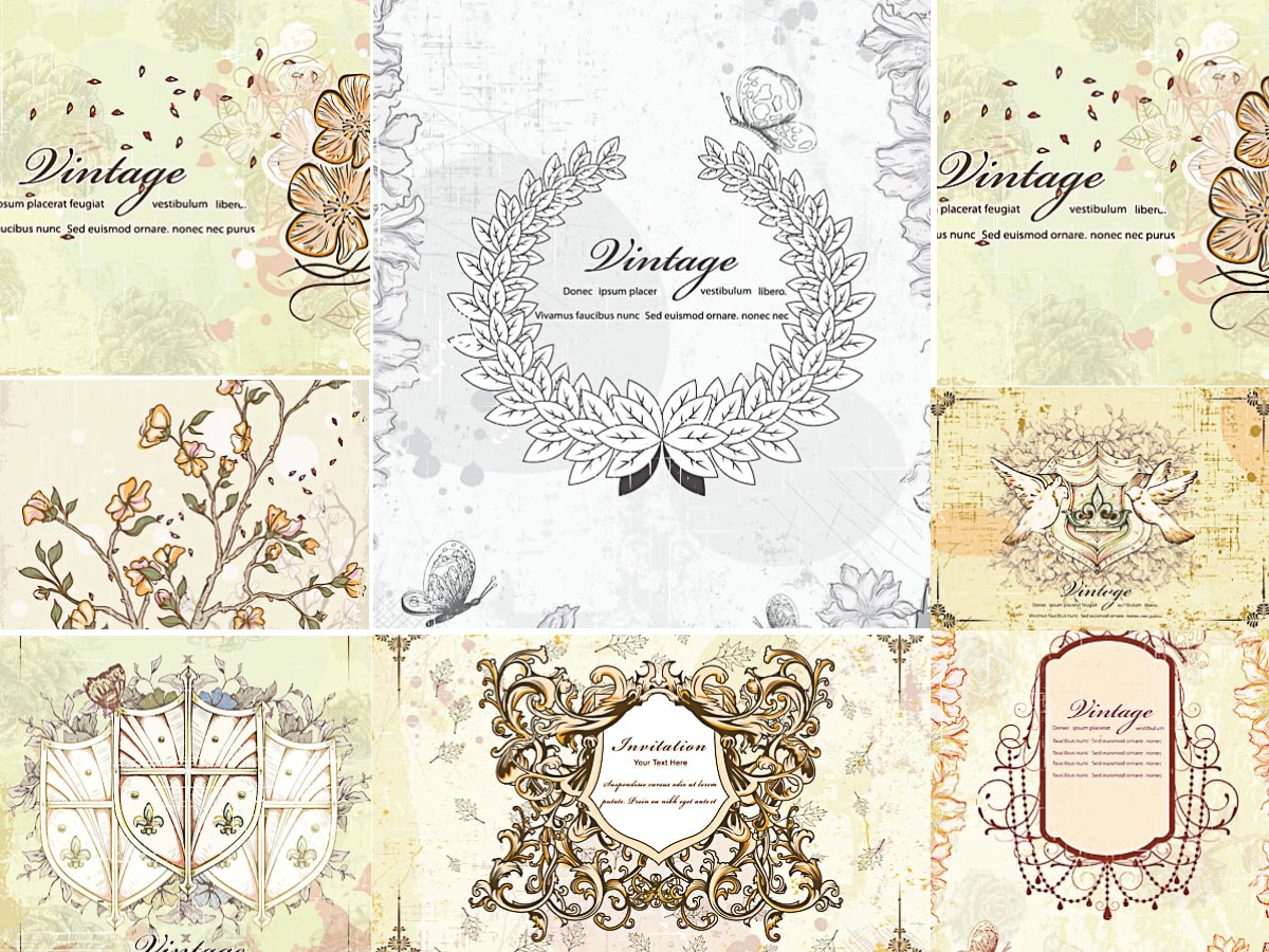 Vintage invitations with wreaths set vector