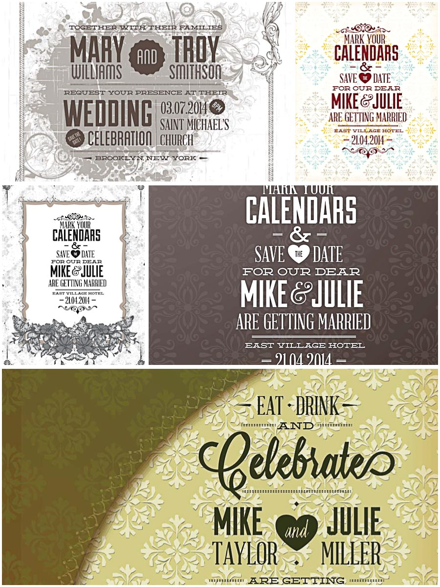 Ornate wedding invitations set vector